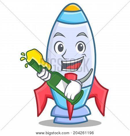With beer cute rocket character cartoon vector illustration
