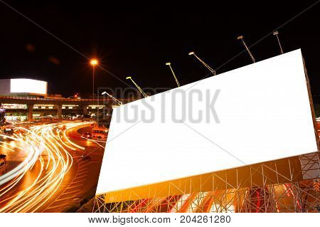Billboard At Night Time With Street Light For Advertisement Street City Night Light Concept.