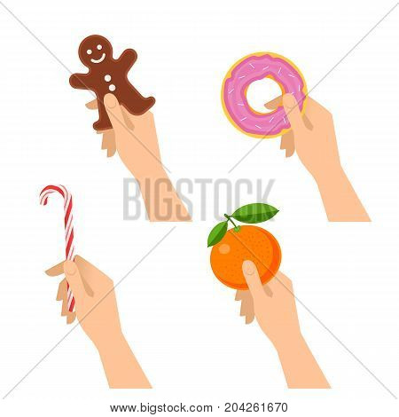 Human hands hold christmas cookie, candy cane, sweet donut, tangerine. Flat illustration of male and female hands with traditional gifts and xmas sweet-stuff. Vector design element isolated on white.