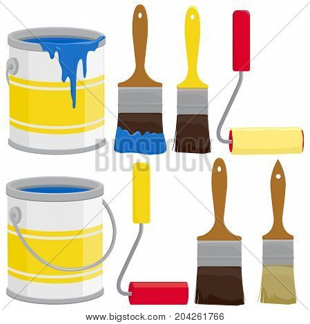 Paint supplies, cans, brushes, buckets and rollers. Vector illustration