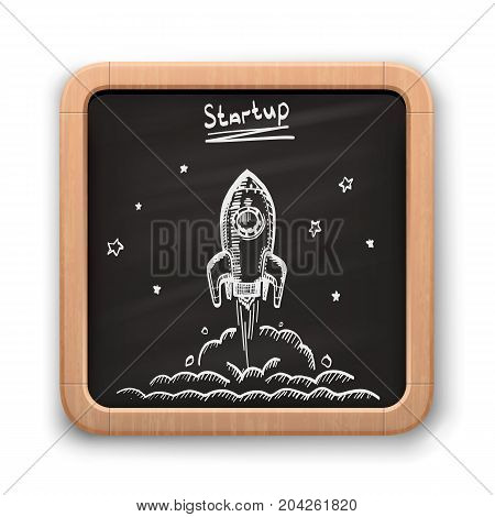Chalk on a blackboard rocket on a white background. Vector illustration