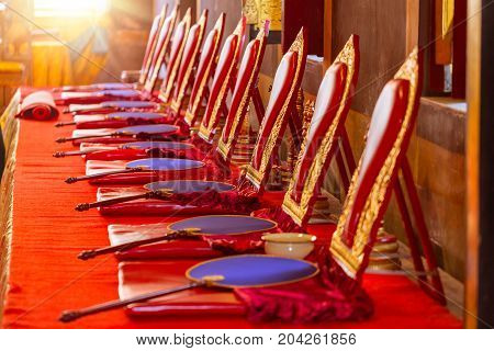 monk seat row in Buddhist sanctuary in a Thai Buddhist temple or Buddhist chapel