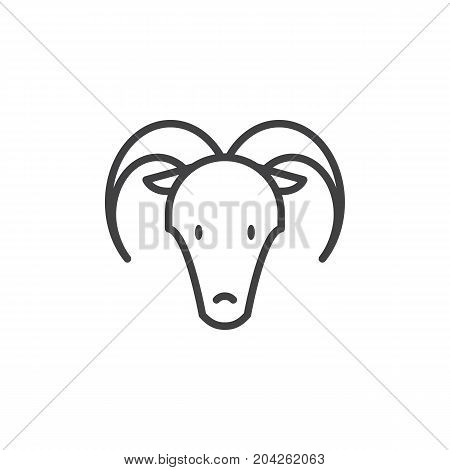 Year of goat line icon, outline vector sign, linear style pictogram isolated on white. Astrology symbol, logo illustration. Editable stroke.