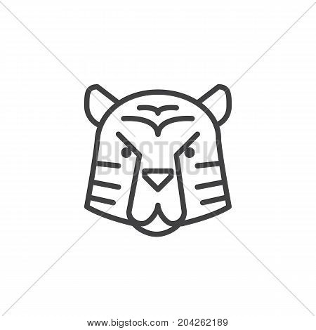 Year of tiger line icon, outline vector sign, linear style pictogram isolated on white. Astrology symbol, logo illustration. Editable stroke.