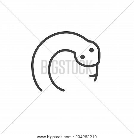 Year of snake line icon, outline vector sign, linear style pictogram isolated on white. Astrology symbol, logo illustration. Editable stroke.