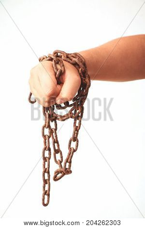 human hands with rustic chain isolated on white background