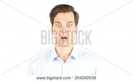 Amazed Shocked  Businessman , Reacting To Bad News  Isolated On White Background