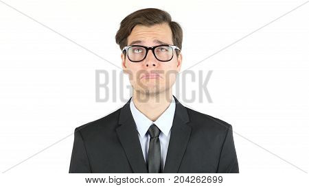 Tired And Sad Businessman, Fired Isolated On White Background