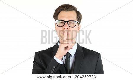 Closeup Portrait Handsome, Businessman , Finger On The Lips. Sign For Silence