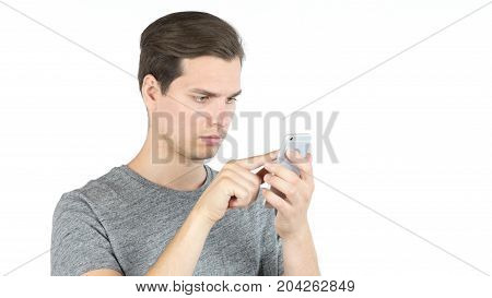Student Using Smartphone On White Background. Online Browsing