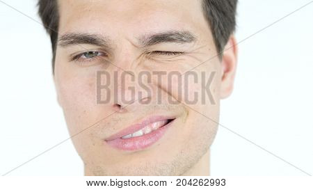 Portrait Of Funny Man, Blinking With Eye