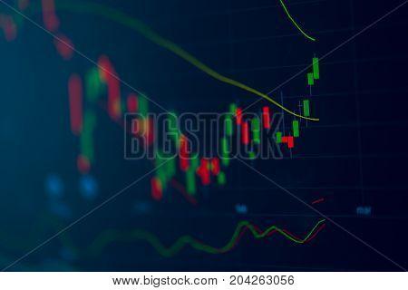 closeup stock chart candlestick bar screen for modern financial background