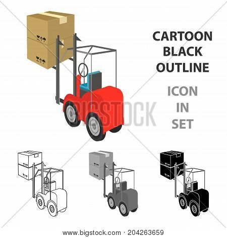 Cargo transportation by means of a loader. Transportation and delivery single icon in cartoon style isometric vector symbol stock illustration .