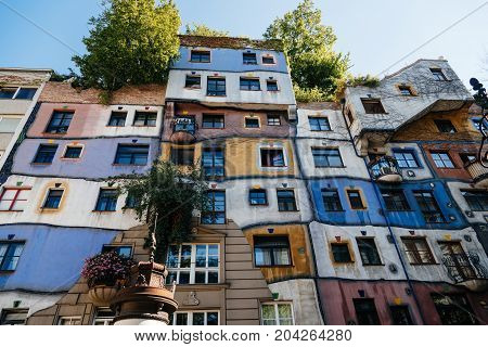 Vienna, Austria - August 15, 2017: Hundertwasserhaus in Vienna. It is is an apartment house in Vienna built after the idea and concept of Austrian artist Friedensreich Hundertwasser.r