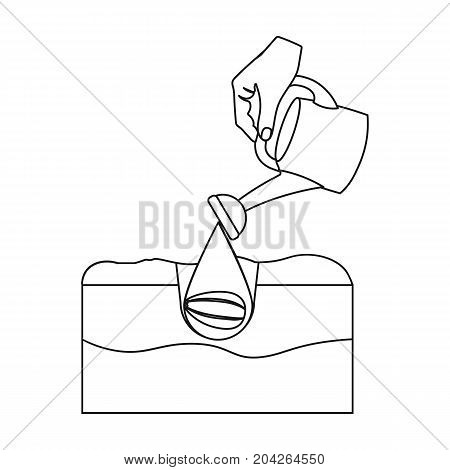 Watering single icon in outline style .Watering, vector symbol stock illustration .