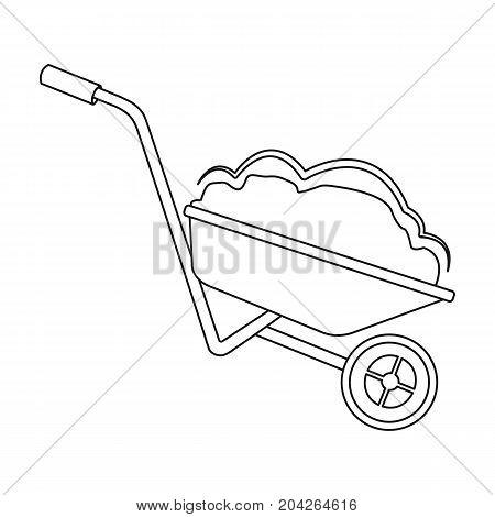 Wheelbarrow, single icon in outline style.Wheelbarrow vector symbol stock illustration .