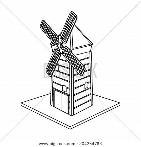 Windmill, single icon in outline style.Windmill vector symbol stock illustration .