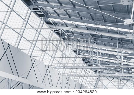 interior metal frame structure with translucent roof for eco saving energy in modern building architecture