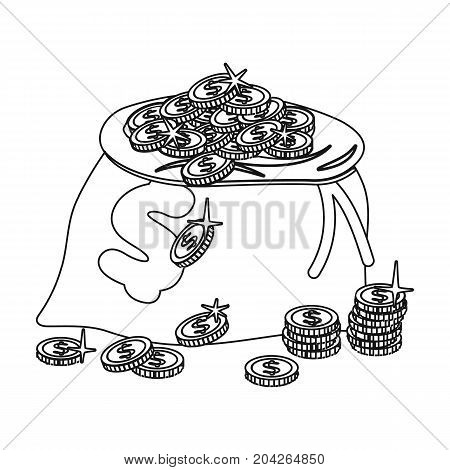 Sack, single icon in outline style.Sack, vector symbol stock illustration .