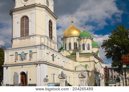 Orthodox Cathedral. Holy Trinity Cathedral in Dnepropetrovsk (Dnieper) Ukraine built in the XIX century by the architect Ludwig Charlemagne Bode and Peter Visconti