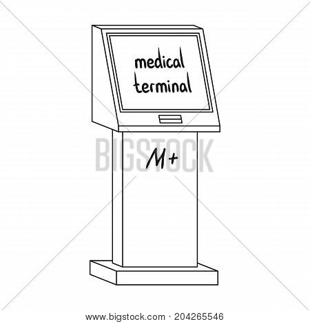 Medical terminal. Terminals single icon in outline style isometric vector symbol stock illustration .