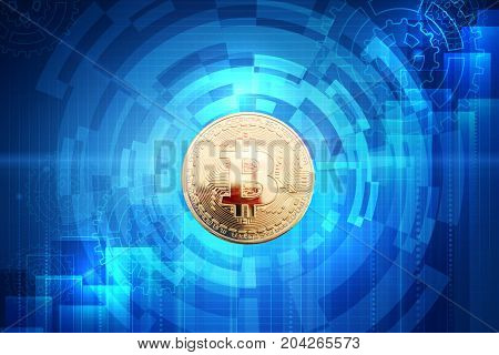 Gold coin of bitcoin on an abstract background. Business background.