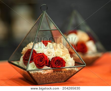 Roses In A Decorative Pyramid