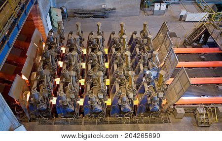 Steel Plant the conveyor for transportation of the heated billets