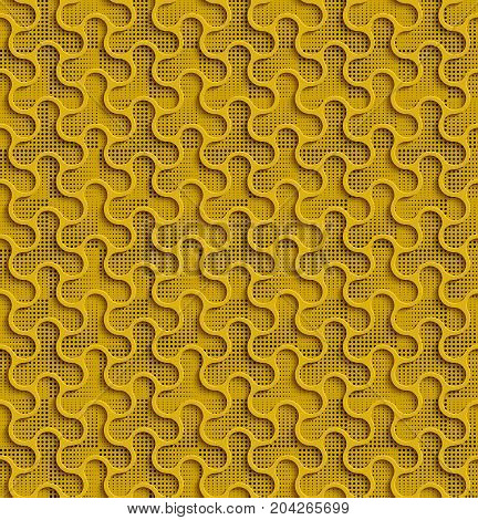 3d Seamless Web Geometric Pattern. Yellow Background Of Forms Of A Spinner With Black Dots In The Background. Frame Border Wallpaper. Elegant Repeating Vector Ornament