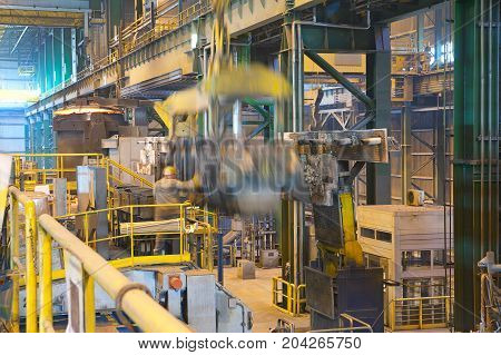Foundry steel plant the shop of melting steel