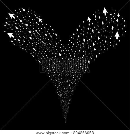 Cursor Arrow fireworks stream. Vector illustration style is flat white iconic cursor arrow symbols on a black background. Object fountain organized from random pictograms.
