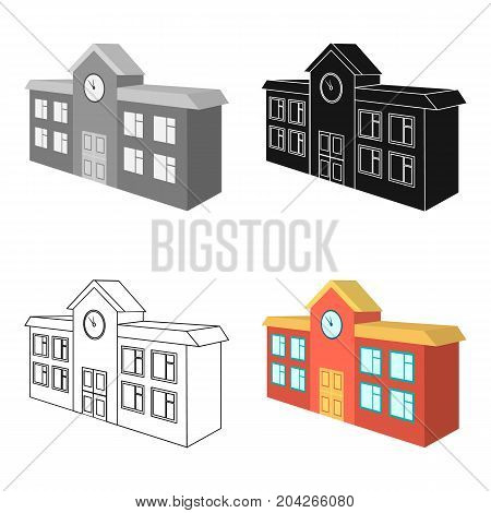 Architectural building of school, college. College single icon in cartoon style vector symbol stock illustration .