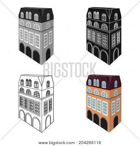 Typical English house. Architecture of the house single icon in cartoon style vector symbol stock illustration .