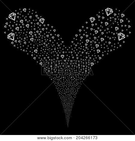 Diamond explosive stream. Vector illustration style is flat white iconic diamond symbols on a black background. Object fountain organized from random icons.