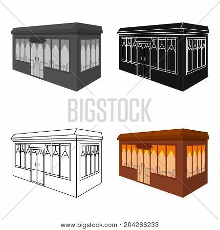 Bar, restaurant. Architectural construction of the bar single icon in cartoon style vector symbol stock illustration .