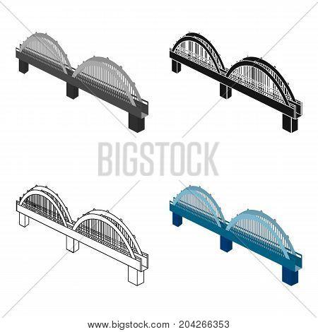 Arched bridge construction. Bridge single icon in cartoon style vector symbol stock illustration .