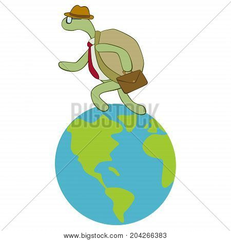 Turtle with hat and necktie running over the earth isolated on white background