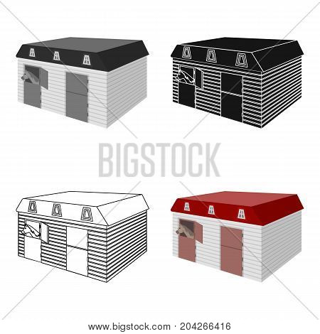 The stable building at the racetrack. Stable room single icon in cartoon style vector symbol stock illustration .