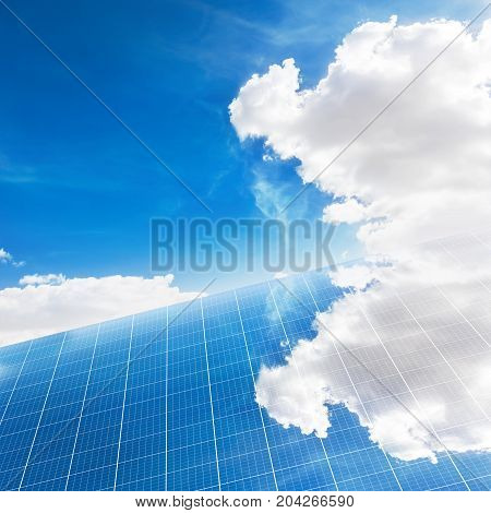 A photography of a solar panel with sky on a background