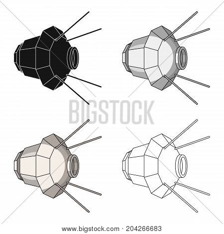 Artificial, space satellite of the Earth. Space technology single icon in cartoon style vector symbol stock illustration .
