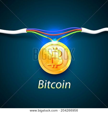 Bitcoin money energy cable internet. Vector illustration