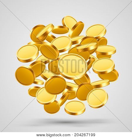Many flying coins in the form of a ball. Vector illustration