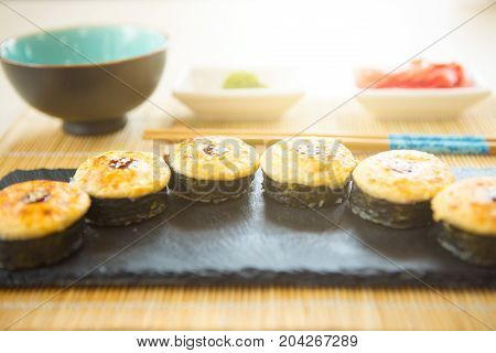 Sushi Roll Sushi With Fish, Cream Cheese And Vegetables. Sushi Menu. Japanese Food