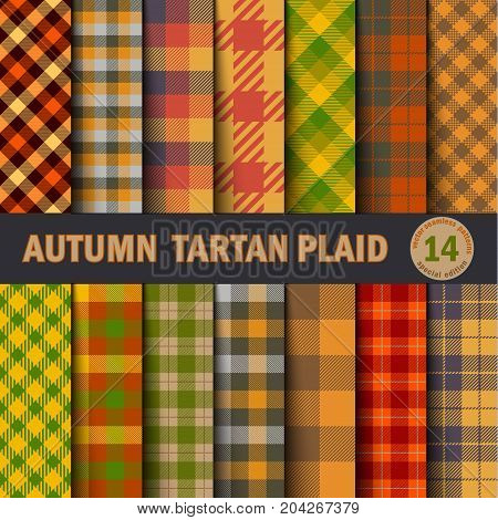 Set Tartan Seamless Pattern Background. Autumn color panel Plaid Tartan Flannel Shirt Patterns. Trendy Tiles Vector Illustration for Wallpapers.