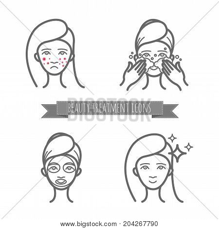Beauty care icons, acne treatment, demodicosis. Set for your design