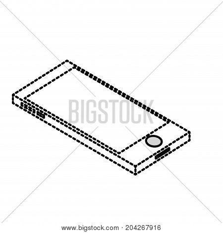 dotted shape technology smartphone to electronic communication vector illustration