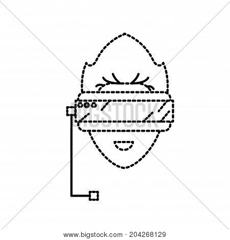 dotted shape boy face with 3d glasses to dimension experience vector illustration