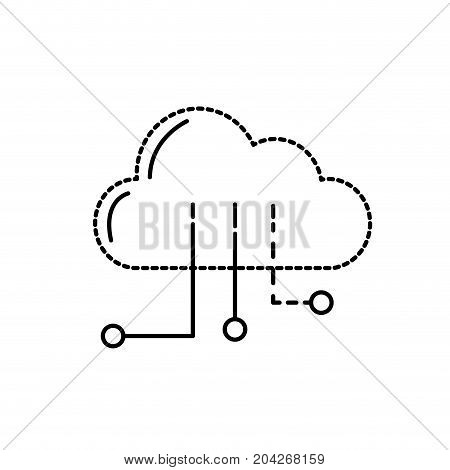 dotted shape cloud data with circuits to digital connection vector illustration