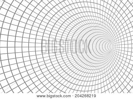 Illustration of Vector 3D Tunnel. Optical Illusion Vortex Twist Wireframe Background
