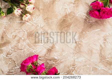 Valentines day background with flowers. Top view. Space for text